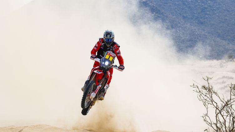 L'Américain Ricky Brabec (Honda), vainqueur du Dakar 2020, à l'attaque en 2021 (FLORENT GOODEN / DPPI)
