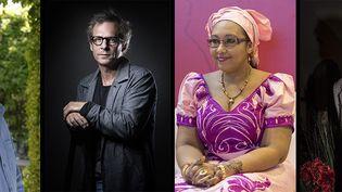 Les quatre finalistes du prix Goncourt 2020 : Hervé Le Tellier, Camille de Toledo,Djaïli Amadou Amal et Maël Renouard. (JOEL SAGET / AFP /  Jean-Marc ZAORSKI / IP3 PRESS/MAXPPP / ULF ANDERSEN / Aurimages via AFP)