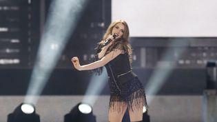 Jana Burceska, la candidate de la Macédoine pour le concours de l'Eurovision, lors de la seconde demi-finale à Kiebv (Ukraine), le 11 mai 2017. (NURPHOTO / AFP)