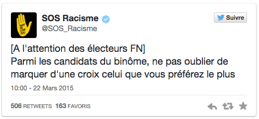 Ce tweet de SOS Racisme provoque la colère du FN, le 22 mars 2015. (SOS RACISME / TWITTER)