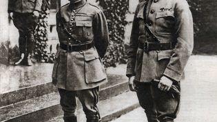 """Première Guerre mondiale : """"Portraits des généraux Ferdinand Foch (1851-1929) et Joseph Pershing(1860-1948) au QG américain """"Le miroir"""" en 1918. (Illustration) (LEEMAGE VIA AFP)"""