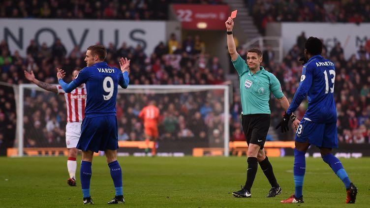 Expulsé contre Stoke, Vardy a été suspendu trois matchs par la fédération. (PAUL ELLIS / AFP)