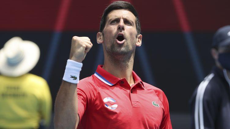 Novak Djokovic lors de l'ATP Cup en février 2021. (DAVID GRAY / AFP)