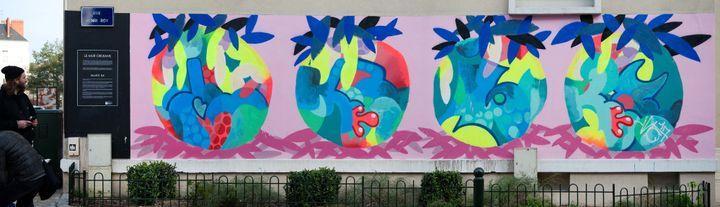 Fresque du street artist ILK, réalisée en mars 2017 sur le mur du Cinéma des Carmes, à Orléans.  (Robert Malnoury)
