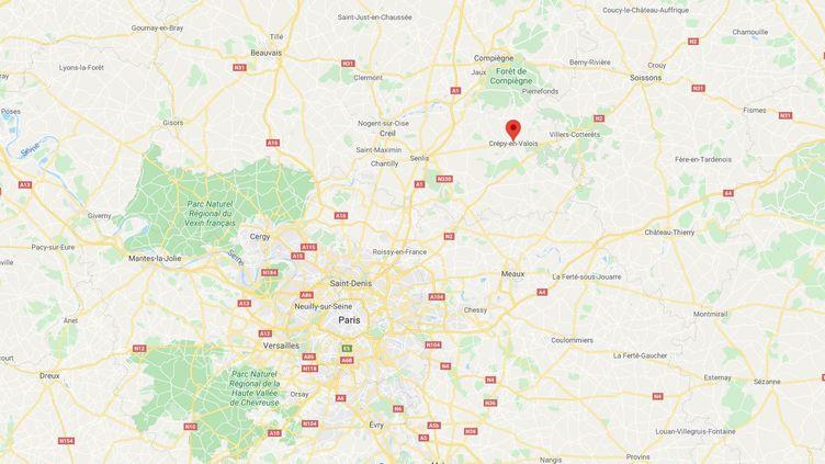 Treize migrants irakiens, dont une femme et un enfant de moins de deux ans, ont été découverts le 15 février 2020 dans un camion stationné à Crépy-en-Valois (Oise). (GOOGLE MAPS)