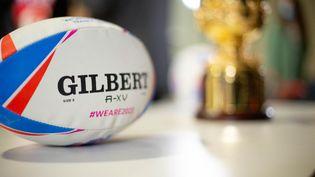 Un ballon de rugby photographié à l'occasion de la conférence de presse de l'organisation de la coupe du monde de rugby 2023, le 11 décembre 2020, à Bordeaux. (STEPHANE DUPRAT / HANS LUCAS / APF)