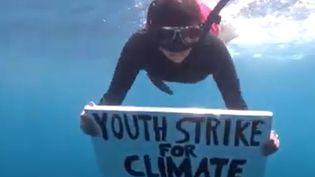 Shaama Sandooyea manifeste sous l'eau au large des Seychelles. (CAPTURE D'ECRAN YOUTUBE)