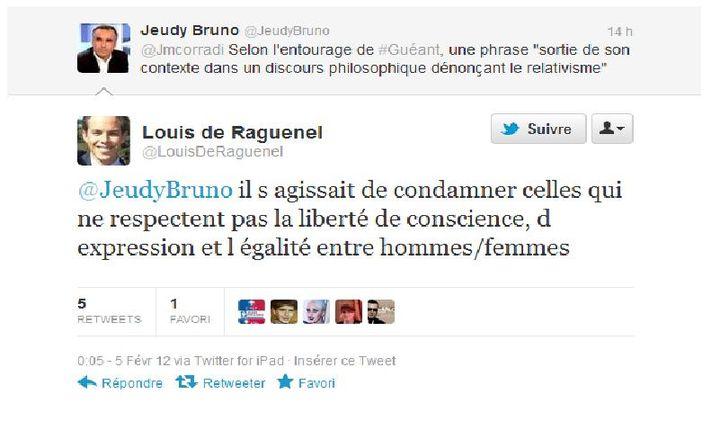 Capture d'écran du tweet de Louis de Raguenel (DR)