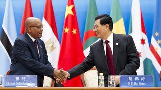 Poignée de main entre le président sud-africain Jacob Zuma (à g.) et le président chinois Hu Jintao, lors du Forum de coopération Chine-Afrique, le 19 juillet 2012 à Pékin (Chine). (HUANG JINGWEN / XINHUA / AFP)
