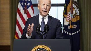 Le président des Etats-Unis, Joe Biden, annonce le retrait des troupes américaines d'Afghanistan, le 14 avril 2021, depuis la Maison Blanche, à Washington. (ANDREW HARNIK / AFP)