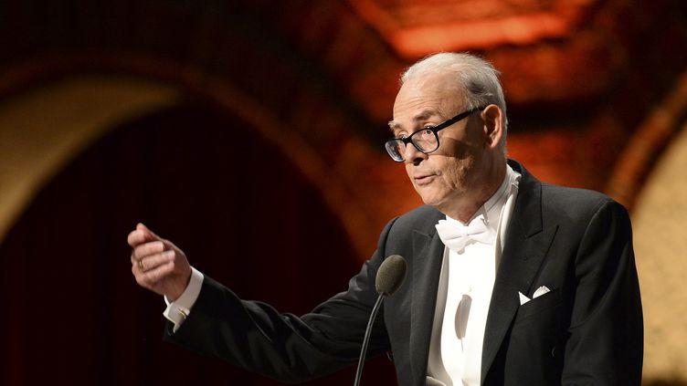 Patrick Modiano, ici le 10 décembre dernier lors de son discours à Stockholm en lauréat du prix Nobel de littérature.  (JONATHAN NACKSTRAND / AFP)