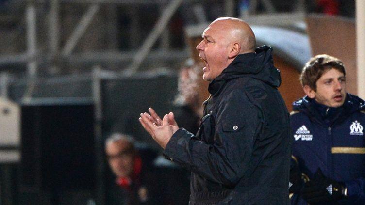 José Anigo s'égosille, mais contre Nice, ce sera peine perdue.  (ANNE-CHRISTINE POUJOULAT / AFP)