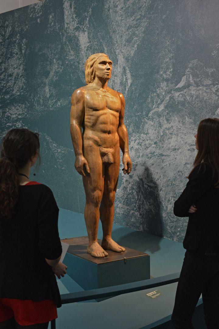 Une représentation d'homme de Néandertal à l'exposition du Musée de l'homme, à Paris, le 27 mars 2018. (MNHN / JCDOMENECH)