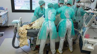 Des soignants s'activent auprès d'un malade du Covid-19 placé en réanimation, le 21 avril 2020 à Toulouse (Haute-Garonne). (FR?D?RIC SCHEIBER / HANS LUCAS / AFP)