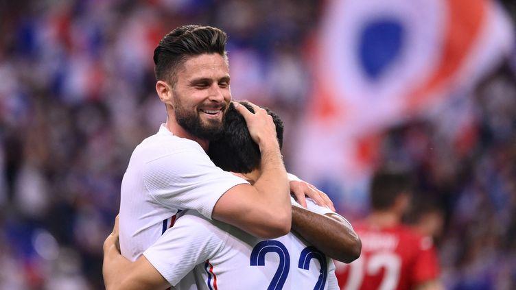 Olivier Giroud, double buteur avec les Bleus face à la Bulgarie, le 8 juin 2021. (FRANCK FIFE / AFP)