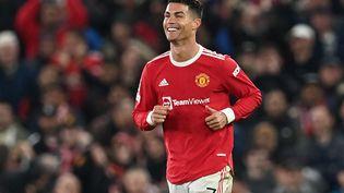 Cristiano Ronaldo a donné la victoire aux Red Devils contre l'Atalanta (3-2), mercredi 20 octobre. (PAUL ELLIS / AFP)