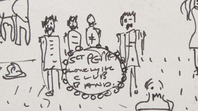 Détail du croquis de John Lennon retrouvé par les propriétaires de l'ancienne maison du Beatle (1964-68) à Weybridge, en Angleterre  (AP / SIPA)