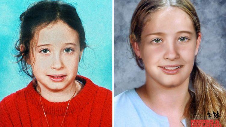 Montage d'une photo d'Estelle Mouzin (à gauche), issue de l'avis de recherche lors de sa disparition en 2003 et d'une photo distribuée par la police à la presse le 19 janvier 2010, la représentant vieillie. (POLICE / AFP)