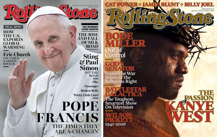 Les unes du magazine américain Rolling Stone consacrées au pape François en février 2014 et au rappeur Kanye West en février 2006. (DR)