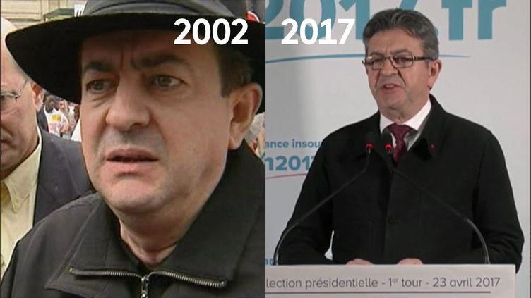 Jean-Luc Mélenchon lors de l'entre-deux-tours de l'élection présidentielle de 2002 etau soir du premier tour de l'élection présidentielle de 2017. (INA / FRANCE 2)