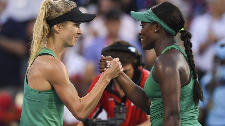 Svitolina et Stephens lors du tournoi de Montreal. (MINAS PANAGIOTAKIS / GETTY IMAGES NORTH AMERICA)