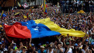 Des manifestants opposés à Nicolas Maduro, le 23 janvier 2019, à Caracas (Venezuela). (FEDERICO PARRA / AFP)