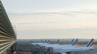 Des avions Air France sur le tarmac de l'aéroport de Roissy-Charles-de-Gaulle (Seine-Saint-Denis), le 15 avril 2021. (SANDRINE MARTY / HANS LUCAS / AFP)