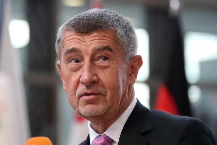 Le Premier ministre tchèqueAndrej Babis lors d'un sommet du Conseil européen à Bruxelles, le 4 octobre 2021. (ARIS OIKONOMOU / AFP)