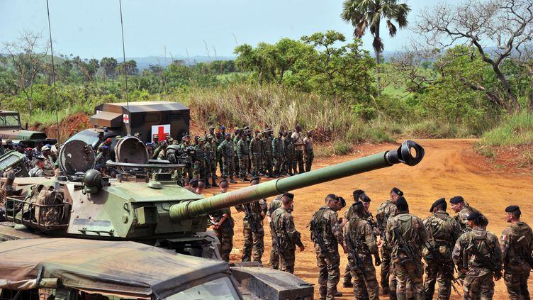 Des forces françaises et des forces ivoiriennes sur le point d'être déployées au Mali effectuent un exercice conjoint, le 6 avril 2013 à Lomo Sud (Côte d'Ivoire). (ISSOUF SANOGO / AFP)