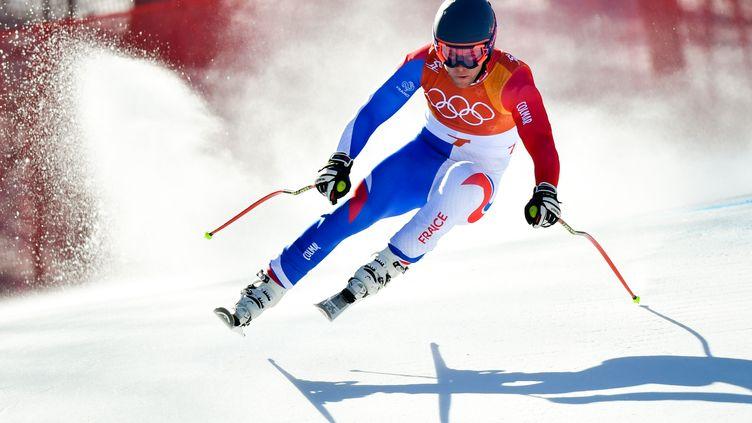 Le skieur français Alexis Pinturault lors du slalom aux JO de Pyeongchang jeudi 22 février. (FABRICE COFFRINI / AFP)