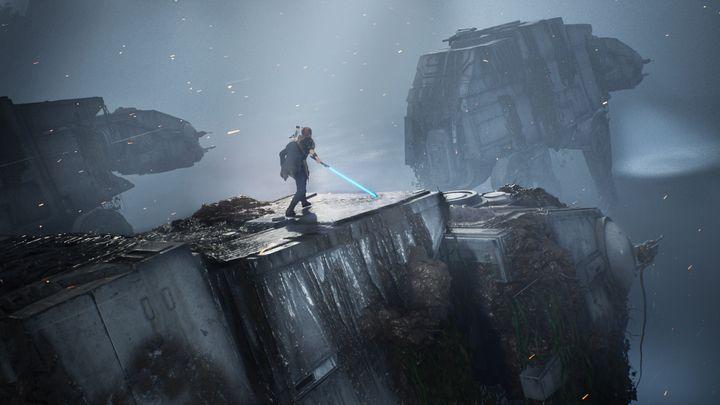 Cal Kestis sur quadripode impérialdans Jedi Fallen Order (ELECTRONIC ARTS)