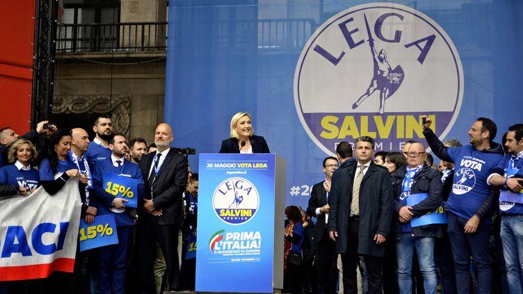 Marine Le Pen, le 18 mai 2019 à Milan (Italie), lors d'une réunion de partis nationalistes européens organisée par le ministre de l'Intérieur italien, Matteo Salvini. (MINAKO SASAKO / YOMIURI / AFP)
