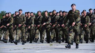Des militaires français et allemands, de la brigade franco-allemande de Müllheim (Allemagne), répétant leur pas pour le défilé du 14-Juillet, le 2 juillet 2019 à Meyenheim (Haut-Rhin). (PATRICK HERTZOG / AFP)