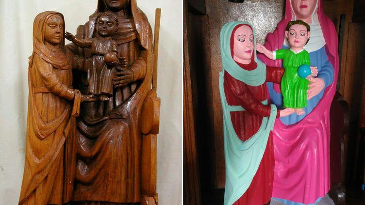 La statue de la Vierge Marie de la chapelle d'El Ranadoiro, un hameau de la région des Asturies (nord de l'Espagne), avant et après sa restauration. (AFP)