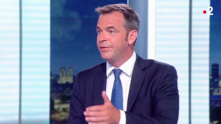 Le ministre de la Santé Olivier Véran au journal de 20 heures, sur France 2, le 12 août 2020. (FRANCE 2)