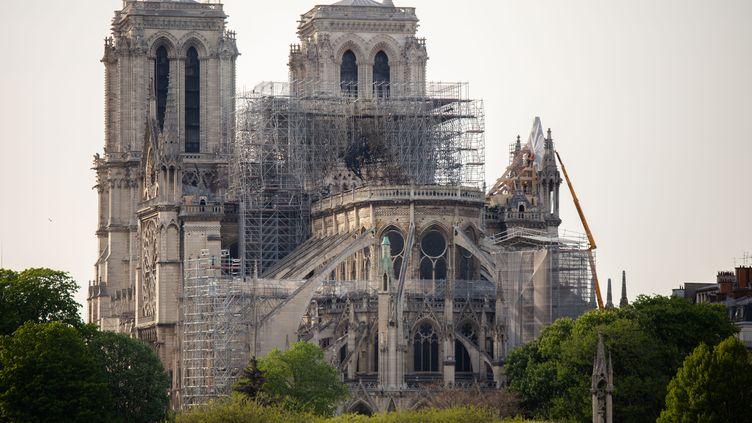 La cathédrale Notre-Dame de Paris, le 18 avril, après l'incendie. (EDOUARD RICHARD / HANS LUCAS)