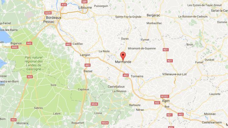 L'action a été menée à Marmande (Lot-et-Garonne) jeudi 18 août, non loin de la résidence du ministre du Commerce extérieur. (GOOGLE MAPS)