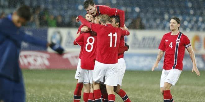 La joie des joueurs norvégiens qui ont éliminé les Espoirs français lors des barrages pour l'Euro 2013