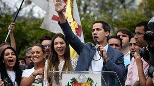 """Le leader de l'Assemblée nationale vénézuélienne Juan Guaido, qui s'est autoproclamé """"président par intérim"""" du Venezuela, le 26 janvier 2019 à Caracas (Venezuela). (FEDERICO PARRA / AFP)"""