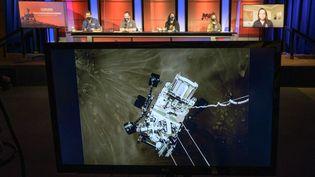 Le rover de la Nasa, Perseverance, lors de son atterrissage sur Mars, le 18 février 2021? à 20h55, 3.55 pm, heure locale aux États-Unis. (BILL INGALLS / NASA / AFP)