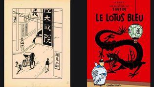 (A gauche) Planche de Georges Rémi dit Hergé vendue par Artcurial à Hong Kong : Encre de Chine et gouache blanche pour le troisième hors-texte destiné à cet album publié en 1936 aux éditions Casterman. L'édition originale du Lotus Bleu comporte cinq hors-textes en couleurs, les rééditions de cet album en noir et blanc n'en ont que quatre. Ce hors-texte n'apparaît que dans l'édition de 1936. Le seul dessin original de cet album mythique de 1936 encore en mains privées.  (Planche Artcurial - Couverture Casterman)
