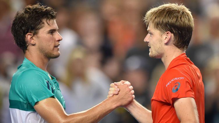 Dominic Thiem (à gauche) et David Goffin, lors de l'Open d'Australie 2016. (PETER PARKS / AFP)