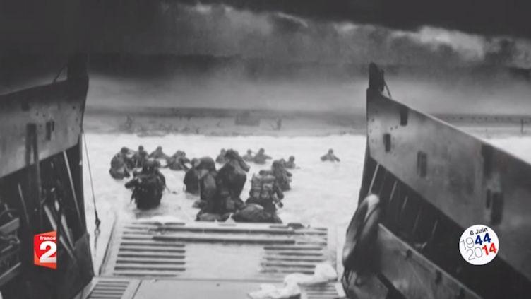 Sur Omaha beach ce 6 juin 1944,Les pertes humaines sont de presque 1 000 tués et 2 000 blessés et disparus. C'estquinze fois plus qu'à Utah Beach. (CAPTURE D'ECRAN FRANCE 2 / FRANCETV INFO)