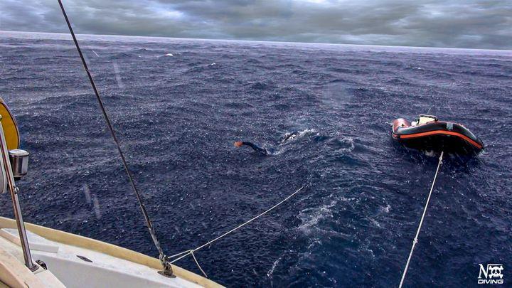 Michel Nox lors de sa traversée de la Méditerranée en octobre dernier.
