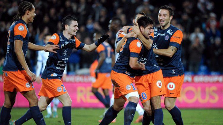 Estrada (Montpellier) félicité par ses coéquipiers (SYLVAIN THOMAS / AFP)