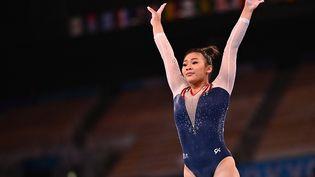 Sunisa Lee a remporté la médaille d'or au concours général individuel, le 29 juillet 2021 à Tokyo. (LOIC VENANCE / AFP)