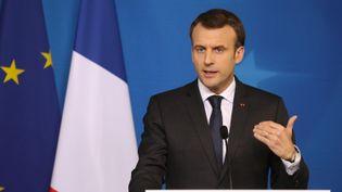 A Epinal, Emmanuel Macron a inauguré la première consultation citoyenne sur l'Europe. (LUDOVIC MARIN / AFP)