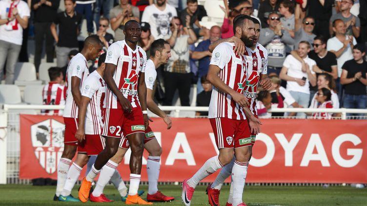 Les joueurs d'Ajaccio (PASCAL POCHARD-CASABIANCA / AFP)