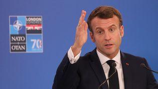 Le président français Emmanuel Macron au sommet de l'Otan à Watfort, en Angleterre, le 4 décembre 2019. (LUDOVIC MARIN / AFP)