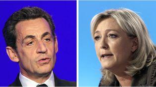 """L'ancien président de la République Nicolas Sarkozy et la présidente du FN Marien Le Pen, donnés qualifiés pour le second tour de la présidentielle 2017, selon un sondage Ifop pour """"Marianne"""",publié le 1er août 2014. (KENZO TRIBOUILLARD / AFP)"""